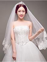 Wedding Veil Two-tier Blusher Veils Fingertip Veils Lace Applique Edge Tulle