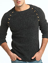 Men's Plus Size Casual/Daily Vintage Simple Regular Pullover,Color Block Round Neck Long Sleeves Wool Cotton Rayon Fall Winter Thick