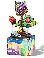 Music Box Square Cartoon Wooden