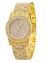 Жен. Модные часы Наручные часы Часы со стразами Кварцевый Нержавеющая сталь Группа Cool Повседневная Серебристый металл Золотистый