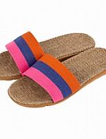 Damen Slippers & Flip-Flops Komfort Sommer Herbst Leinen Normal Kombination Flacher Absatz Orange Purpur Rot Flach