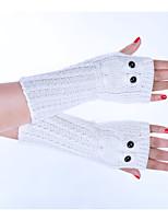 Для женщин Зимние перчатки До запястья Полупальцами,Весна/осень Зима Акрил Однотонный