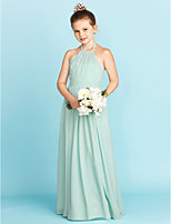 A-Line Princess Halter Floor Length Chiffon Junior Bridesmaid Dress with Sash / Ribbon Pleats by LAN TING BRIDE®