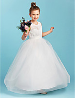 A-Line Princess Jewel Neck Floor Length Lace Tulle Junior Bridesmaid Dress with Sash / Ribbon by LAN TING BRIDE®