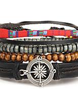 Men's Women's Wrap Bracelet Leather Bracelet Jewelry Fashion Vintage Bohemian Punk Hip-Hop Handmade Leather Wood Round Geometric Jewelry
