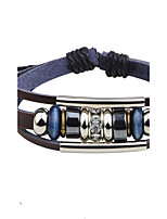 Men's Leather Bracelet Strand Bracelet Handmade Adjustable Leather Alloy Round Jewelry For Daily Casual
