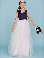 A-Line Princess Straps Floor Length Chiffon Tulle Junior Bridesmaid Dress with Flower(s) Criss Cross Ruching by LAN TING BRIDE®
