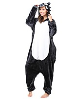 Kigurumi Pajamas Wolf Leotard/Onesie Festival/Holiday Animal Sleepwear Halloween Gray Animal Flannel Cosplay Costumes For Unisex