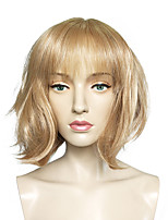 Women Synthetic Wig Capless Short Straight Blonde Bob Haircut Party Wig Celebrity Wig Halloween Wig Cosplay Wig Natural Wigs Costume Wig