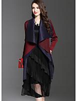 Feminino Casaco Longo Para Noite Moda de Rua Outono,Estampa Colorida Longo Poliéster Colarinho de Camisa Manga Longa