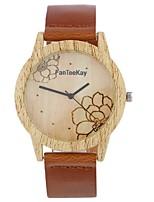 Муж. Жен. Модные часы Часы Дерево Наручные часы Уникальный творческий часы Китайский Кварцевый Кожа Группа Винтаж Цветы С подвесками