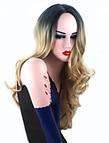 Women Synthetic Wigs Capless Long Body Wave Blonde Dark Roots Natural Hairline Silk Base Hair Middle Part Party Wig Celebrity Wig