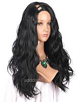 жен. Парики из искусственных волос U-образный Длиный Естественные кудри Черный как смоль Парик из натуральных волос Карнавальные парики