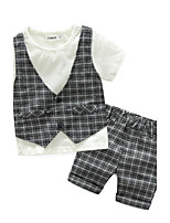 Boys' Check Sets,Cotton Summer Short Sleeve Clothing Set
