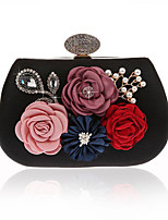 Women Bags All Seasons Polyester Evening Bag with Flower for Event/Party Black Silver Red Purple Fuchsia