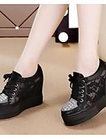 Для женщин Кеды Удобная обувь Весна Лето Полиуретан Повседневные Белый Черный Менее 2,5 см