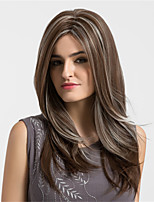 Women Synthetic Wig Capless Long Natural Wave Kinky Straight Brown Highlighted/Balayage Hair Natural Wigs Costume Wigss