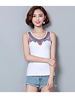 Women's Casual/Daily Simple Tank Top,Solid Print Round Neck Sleeveless Cotton