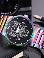 Hombre Mujer Reloj de Moda Reloj de Pulsera Reloj Pulsera Chino Cuarzo Punk Esfera Grande Acero Inoxidable Banda Arco iris Encanto