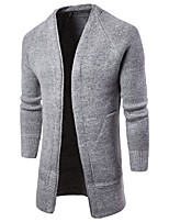 Men's Casual/Daily Simple Long Cardigan,Solid Deep V Long Sleeves Cotton Fall Winter Medium Stretchy
