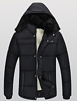 Men's Regular Padded Coat,Vintage Simple Going out Casual/Daily Solid-Cotton Polyester Cotton Long Sleeves
