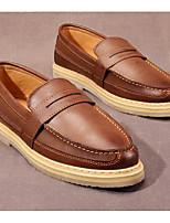 Для мужчин Мокасины и Свитер Удобная обувь Весна Осень Искусственное волокно Полиуретан Повседневные Черный Бежевый Темно-коричневый