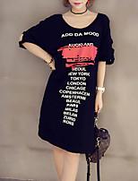 Для женщин На выход На каждый день Большие размеры Простое Уличный стиль А-силуэт Платье С принтом Буквы,С открытыми плечами Макси С