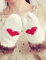 Для женщин На каждый день Зимние перчатки Сохраняет тепло Вязаная одежда Мода До запястья С пальцами,Зима Кроличий мех Акрил Трикотаж