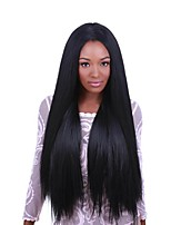 Mujer Pelucas de Cabello Natural Brasileño Cabello humano Encaje Frontal Frontal sin Pegamento 130% Densidad Liso Peluca Negro Corto