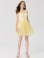 Trapèze Princesse Bijoux Courte / Mini Dentelle Tulle Soirée Cocktail Robe avec Appliques Plissé par TS Couture®