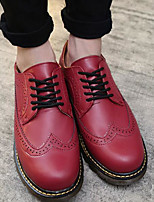 Men's Oxfords Comfort Summer PU Casual Red White Flat