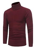 Для мужчин На каждый день Простое Обычный Пуловер Однотонный,Хомут Длинный рукав Полиэстер Осень Зима Средняя Слабоэластичная