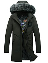 Men's Long Down Coat,Simple Plus Size Casual/Daily Solid-Cotton Polypropylene Long Sleeves