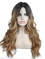 жен. Парики из искусственных волос Лента спереди Длиный Кудрявые Темно-русый 100% волосы канекалона Волосы с окрашиванием омбре Темные