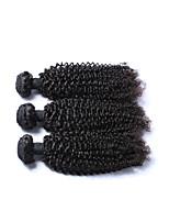 Натуральные волосы Бразильские волосы Человека ткет Волосы Kinky Curly Наращивание волос 3 предмета Черный