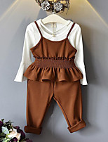Girls' Solid Sets,Rayon Spring Fall Long Sleeve Clothing Set