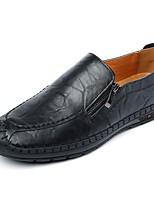 Hombre Zapatos de taco bajo y Slip-On Suelas con luz Primavera Otoño PU Casual Cadena Tacón Plano Negro Marrón Azul Plano