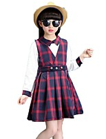 Girls' Solid Plaid Sets,Cotton Polyester Spring Fall Long Sleeve Clothing Set
