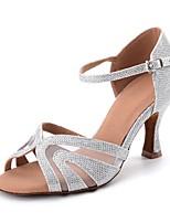 Women's Latin Glitter Net Sandal Full Sole Heel Indoor Buckle Sparkling Glitter Flared Heel Blue Red Sliver Black Gold Customizable