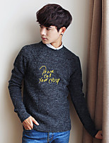 Men's Going out Casual/Daily Short Pullover,Solid Round Neck Long Sleeves Wool Others Spring Fall Thin Stretchy