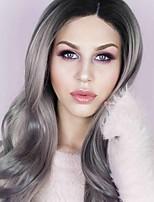 Парики из искусственных волос Лента спереди Длиный Волнистые Серый Парик из натуральных волос Карнавальные парики