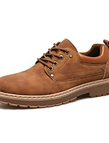 Men's Oxfords Comfort Spring Summer Fall Winter Synthetic Microfiber PU Work & Safety Lace-up Low Heel Brown Yellow Black Under 1in