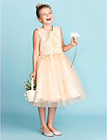 A-Line Princess Jewel Neck Knee Length Lace Tulle Junior Bridesmaid Dress with Appliques Bow(s) by LAN TING BRIDE®