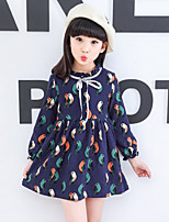 Girl's Casual/Daily Going out Print Dress,Cotton Spring Summer Long Sleeve