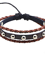 Men's Leather Bracelet Adjustable Rock Leather Alloy Round Jewelry For Casual Stage