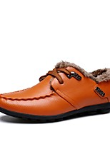 Men's Oxfords Moccasin Comfort Fall Winter Leather Wedding Casual Outdoor Office & Career Party & Evening Rivet Flat Heel Blue Brown