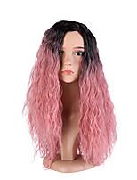 Femme Perruque Synthétique Sans bonnet Long Frisés Noir / Rose Cheveux Colorés Ligne de Cheveux Naturelle Au Milieu Coupe Dégradée
