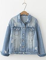 Для женщин На выход На каждый день Весна Осень Джинсовая куртка Рубашечный воротник,Простой Уличный стиль Однотонный Обычная Длинный рукав