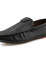 Hombre Zapatos PU Primavera Otoño Confort Suelas con luz Zapatos de taco bajo y Slip-On Para Casual Negro Marrón Caqui