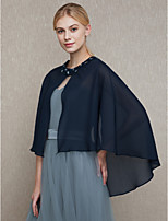 Women's Wrap Capes Chiffon Wedding Party/ Evening Beading Buttons